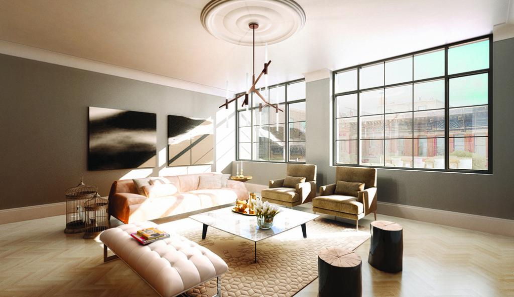 Silverback Development 50 Clinton living room natural lighting large